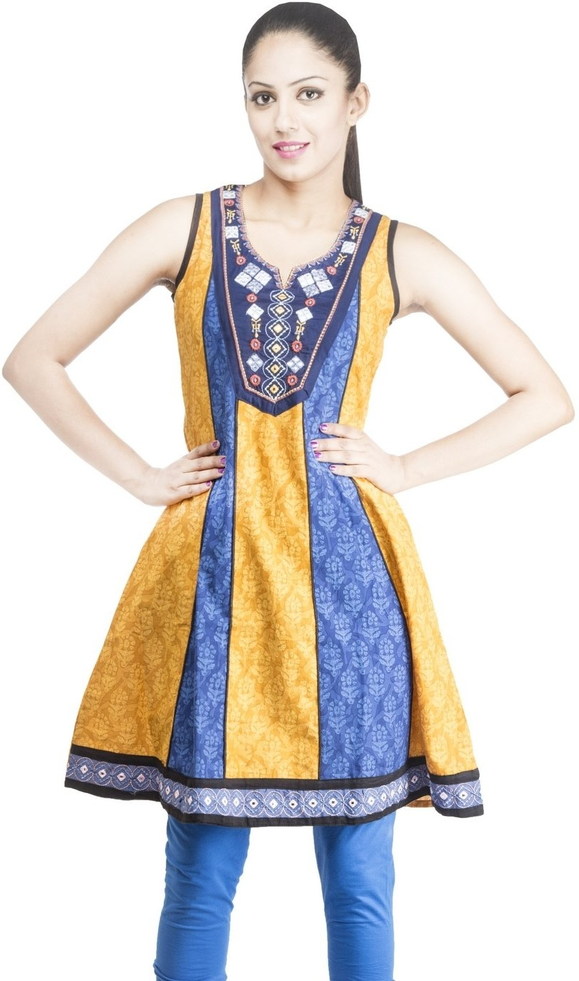 Rama Floral Print Womens A-line Kurta(Orange, Blue)