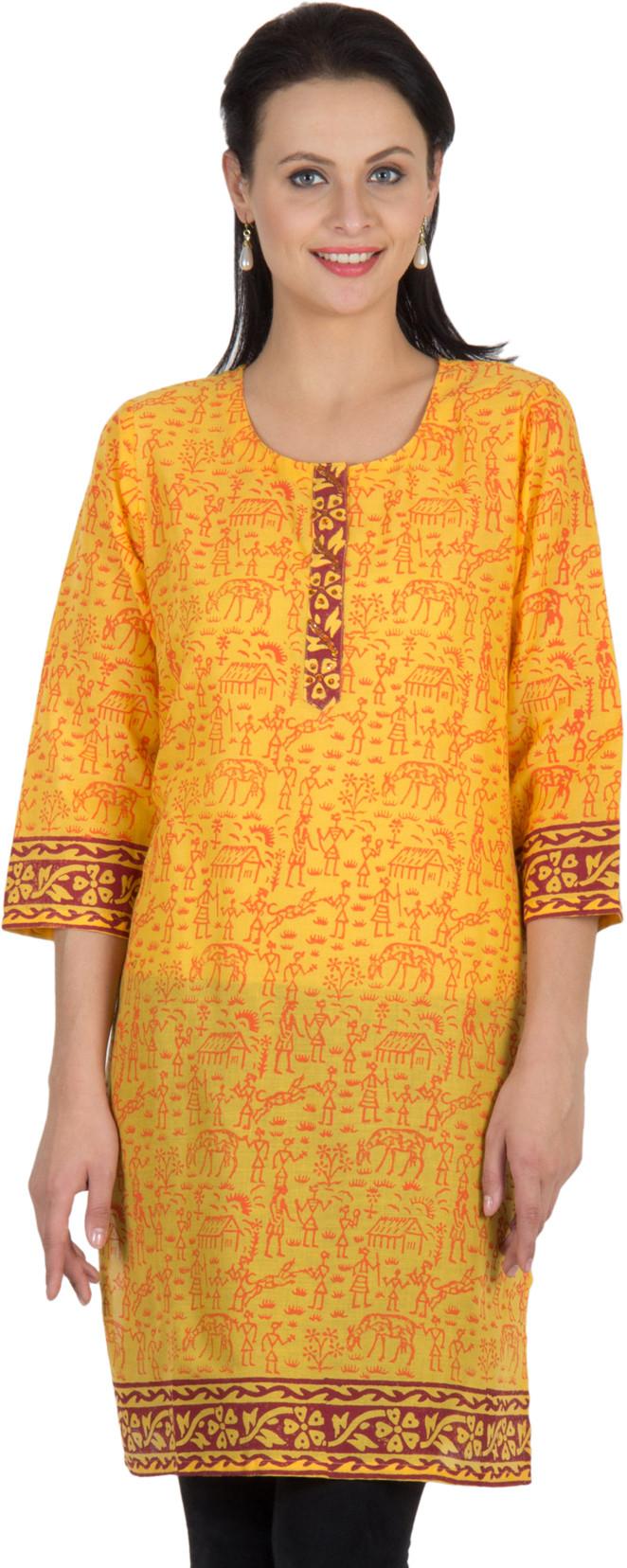 Sohniye Graphic Print Womens Straight Kurta(Yellow)