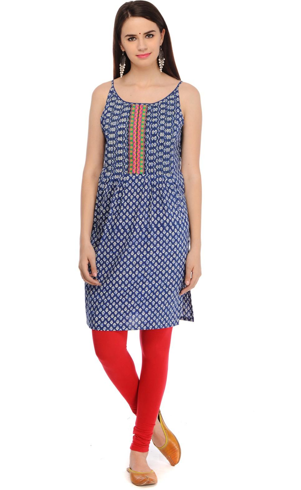 Aana Printed Womens Straight Kurta(Blue)