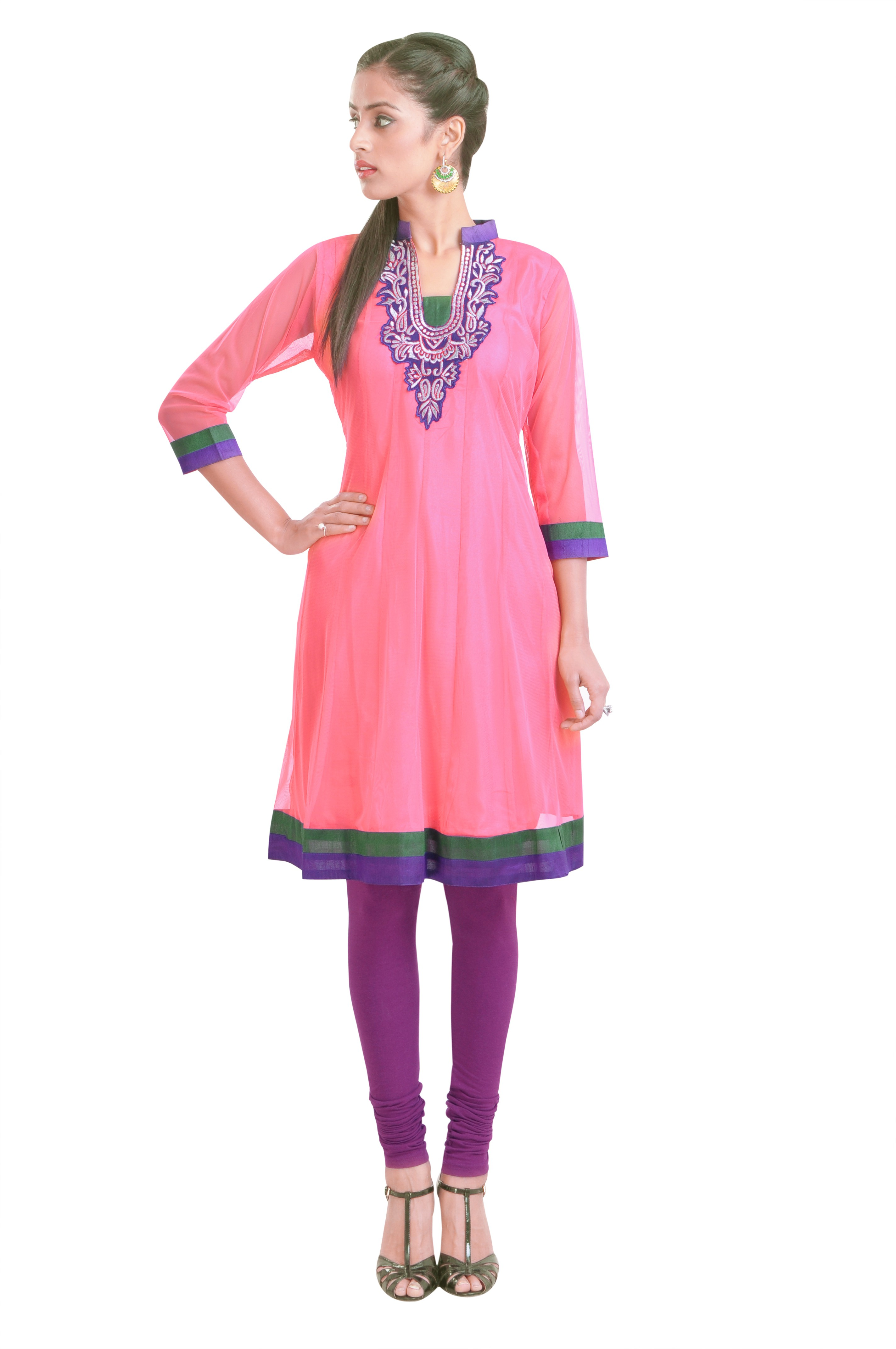 Libas Self Design Womens Anarkali Kurta(Pink)