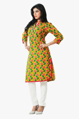 Indian Ink Printed, Embroidered Women's Straight Kurta