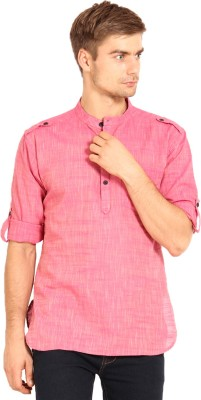Svanik Solid Men's Straight Kurta(Pink)