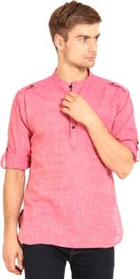 Svanik Solid Men's Straight Kurta(Pink)