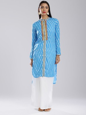 Anouk Striped Women's Straight Kurta(Blue, White) at flipkart