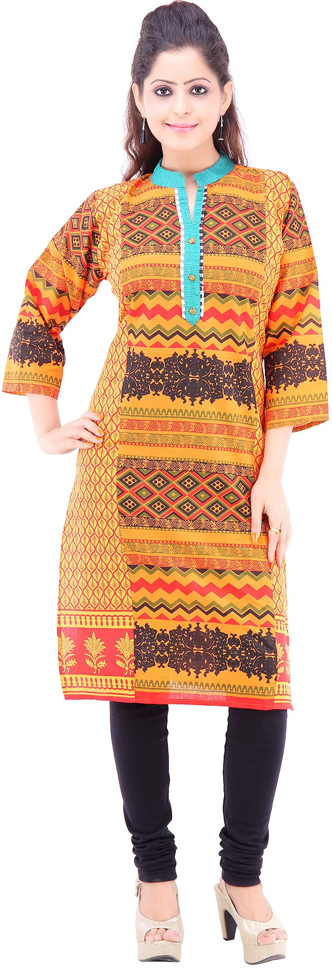 Vastra Design Printed Womens Straight Kurta(Orange)
