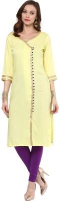 Darzaania Solid Women Straight Kurta(Yellow)