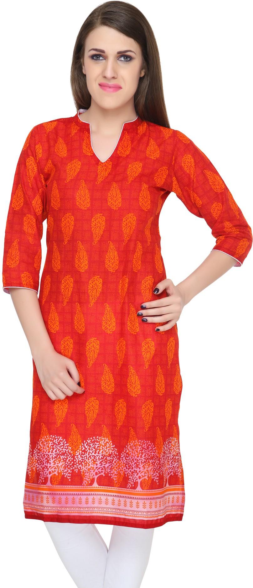 Naksh Jaipur Printed Womens Straight Kurta(Red)