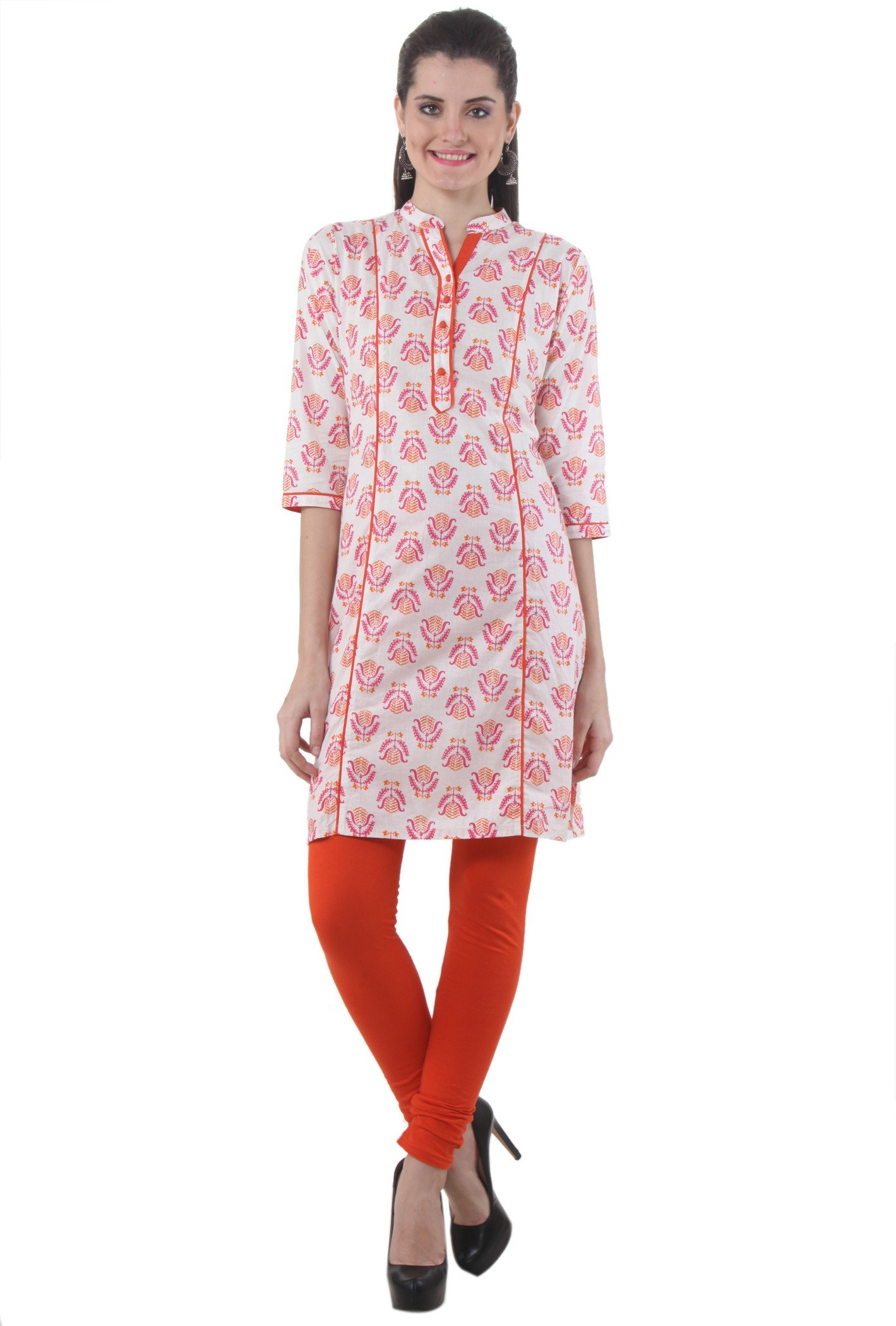 Piaa Printed Womens Straight Kurta(Orange, White)