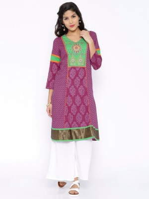 Anouk Solid Women's Straight Kurta(Purple) at flipkart