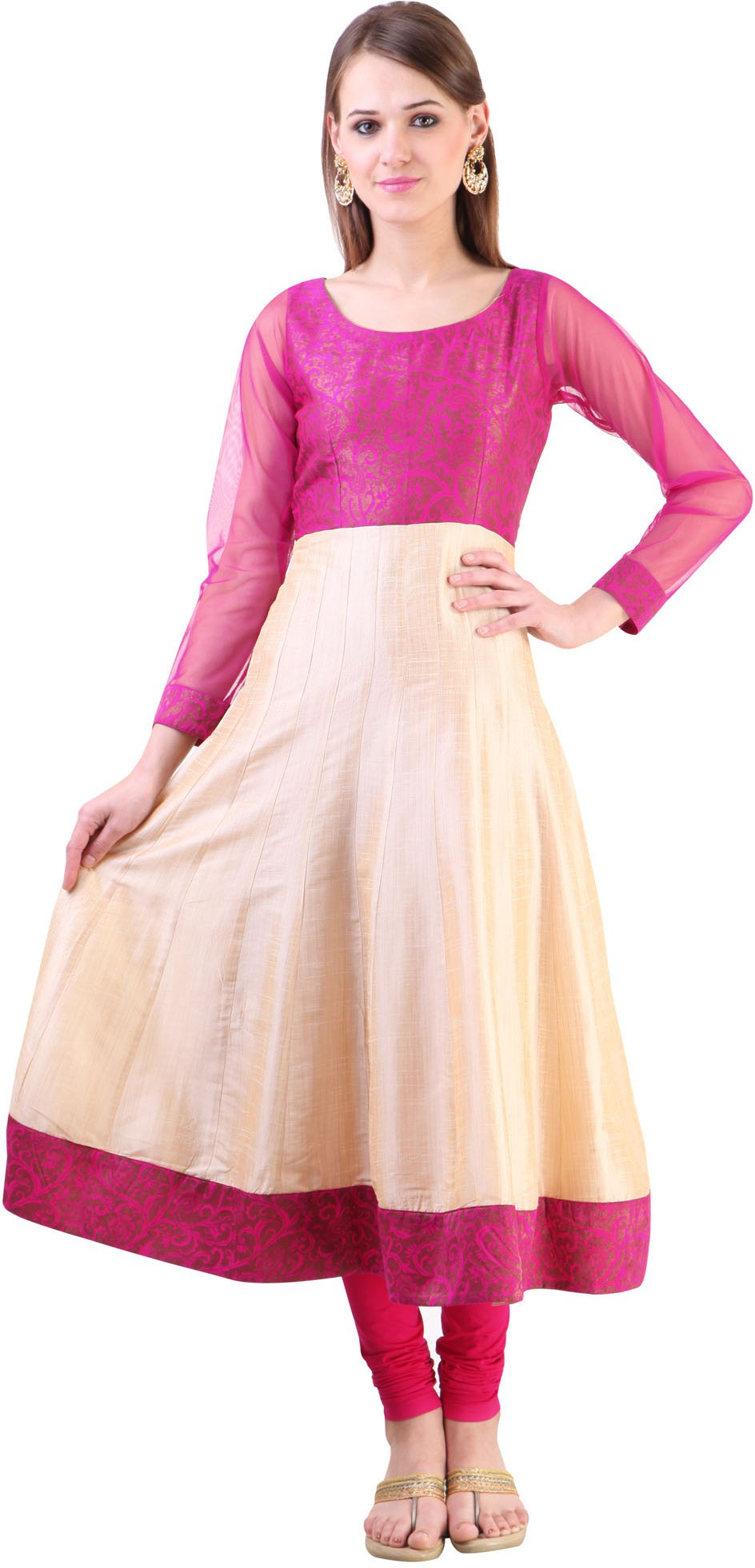 Libas Self Design Womens Anarkali Kurta(Beige, Pink)