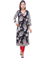 Kyaara Printed Women's Straight Kurta(Black)