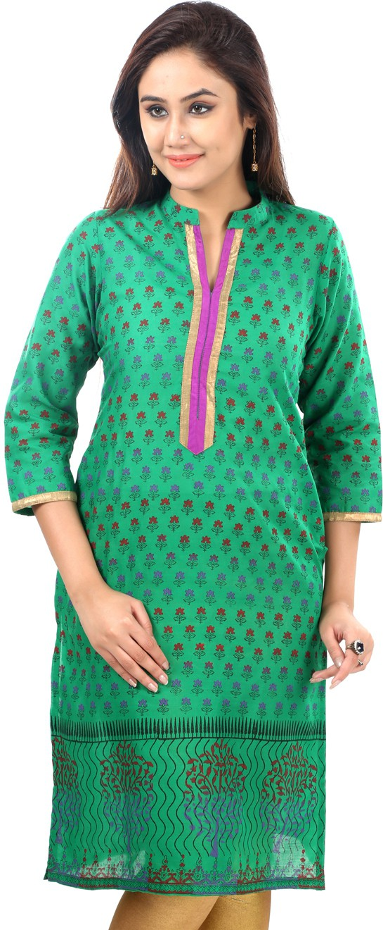 Sohniye Printed Womens Straight Kurta(Green)