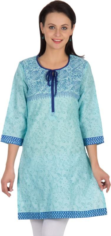 Sohniye Floral Print Women's Straight Kurta(Blue)
