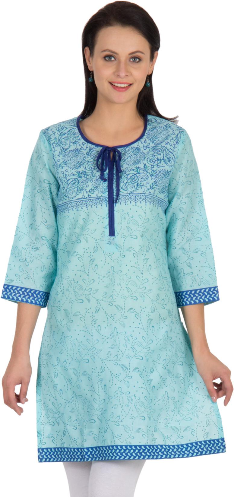Sohniye Floral Print Womens Straight Kurta(Blue)