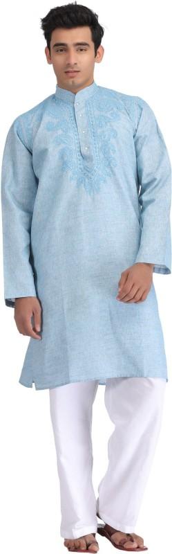 Ada Embroidered Men's Straight Kurta(Blue)