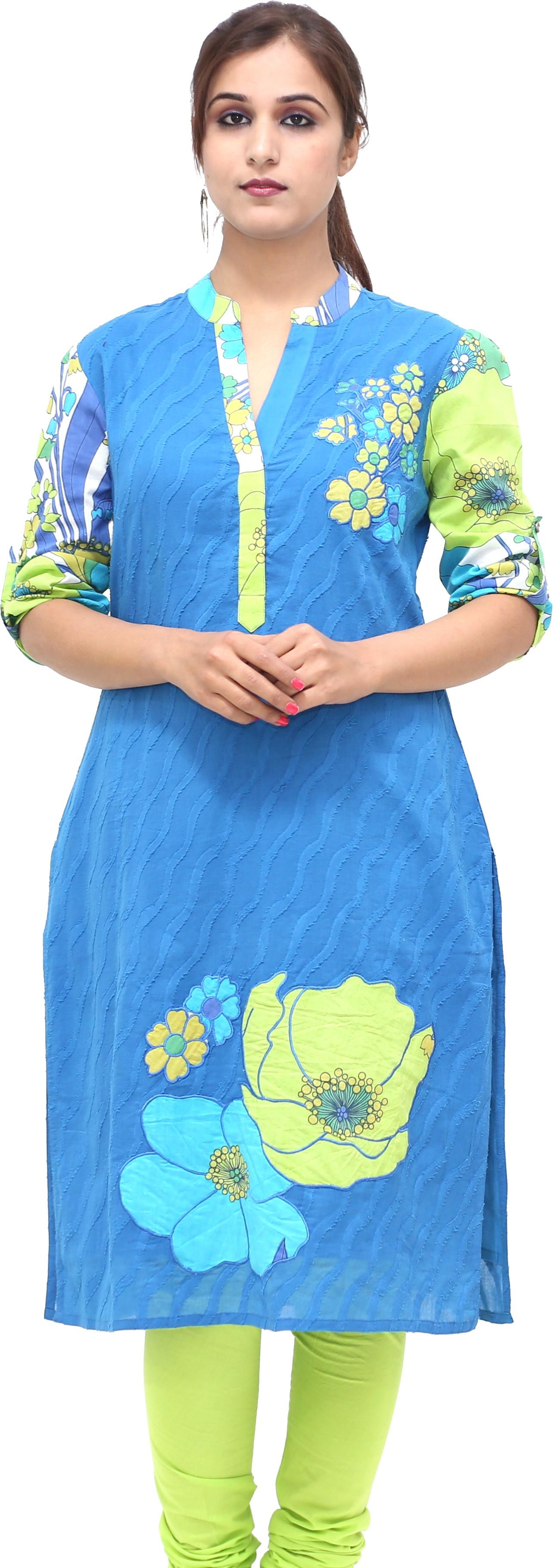 Missprint Floral Print Womens Straight Kurta(Blue, Green)