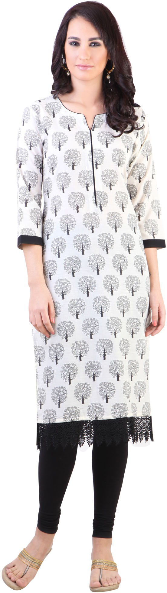Libas Printed Womens A-line Kurta(White, Black)