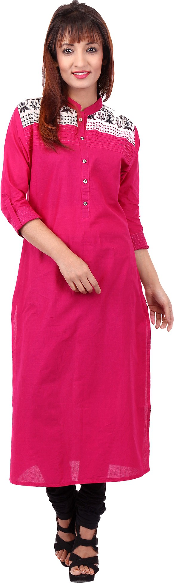 Pregan Printed Womens Straight Kurta(Pink)