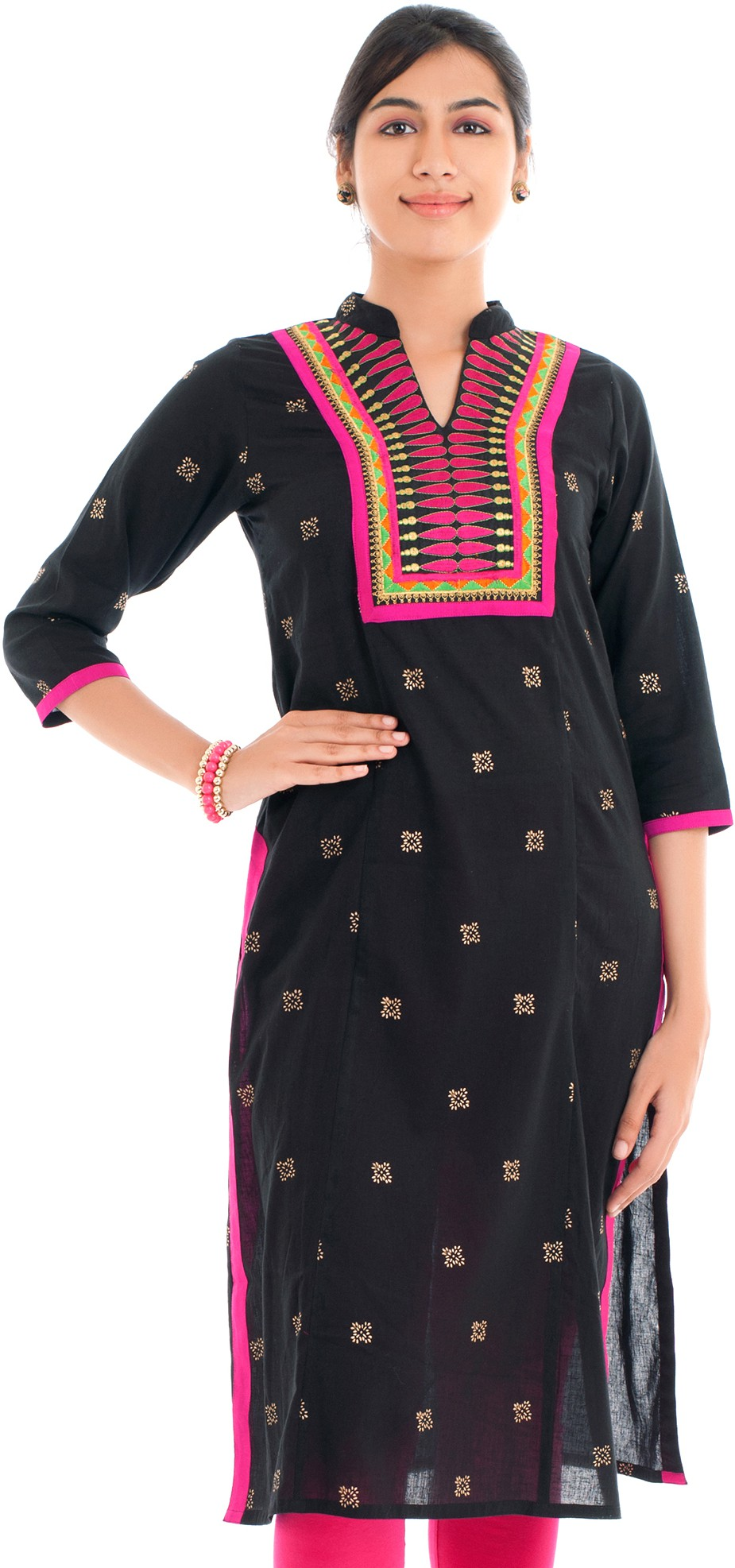 Naksh Jaipur Printed Womens Straight Kurta(Black)