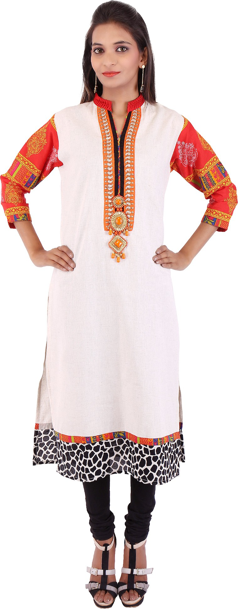 Pregan Printed Womens Straight Kurta(Multicolor)
