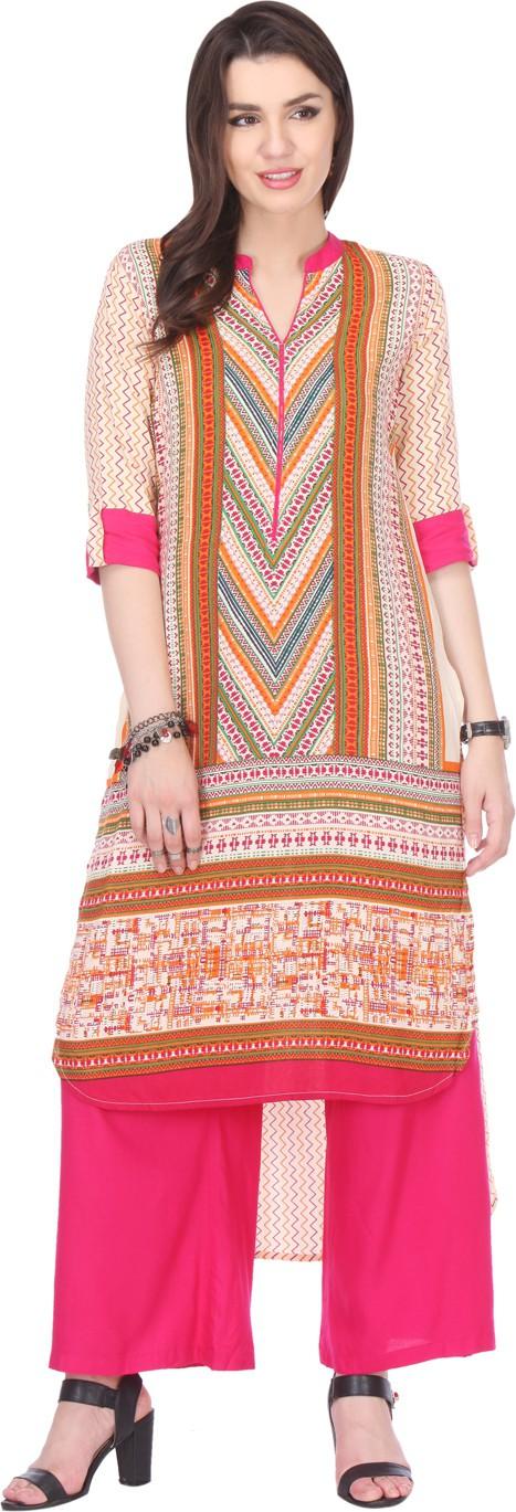 Varanga Printed Women's Straight Kurta(Multicolor)