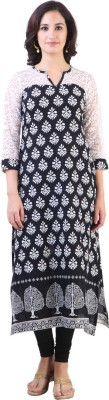 Libas Printed Women's Straight Kurta(Black, White) at flipkart