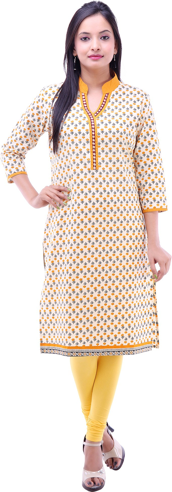 Kyaara Floral Print Womens Straight Kurta(Yellow, White)