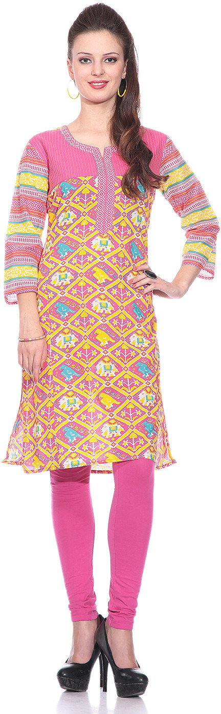 Sringam Printed Womens Straight Kurta(Multicolor)