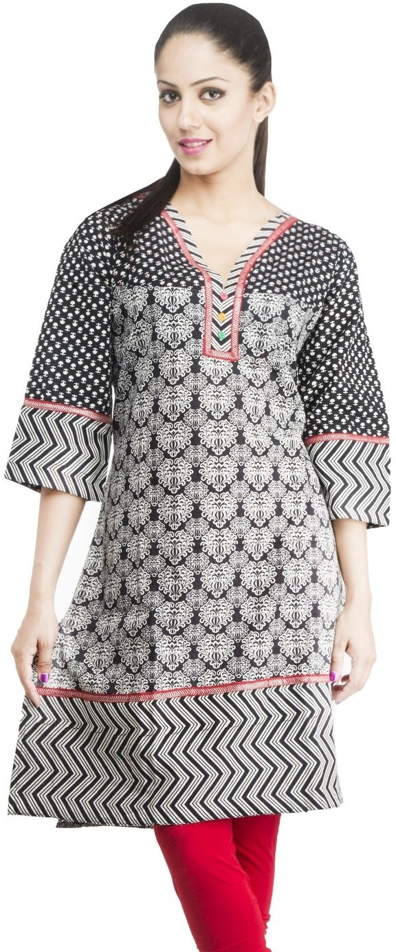 Rama Printed Womens Straight Kurta(Black, White)
