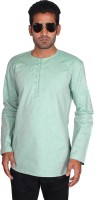 Bon-Ton Solid Mens Straight Kurta(Green)