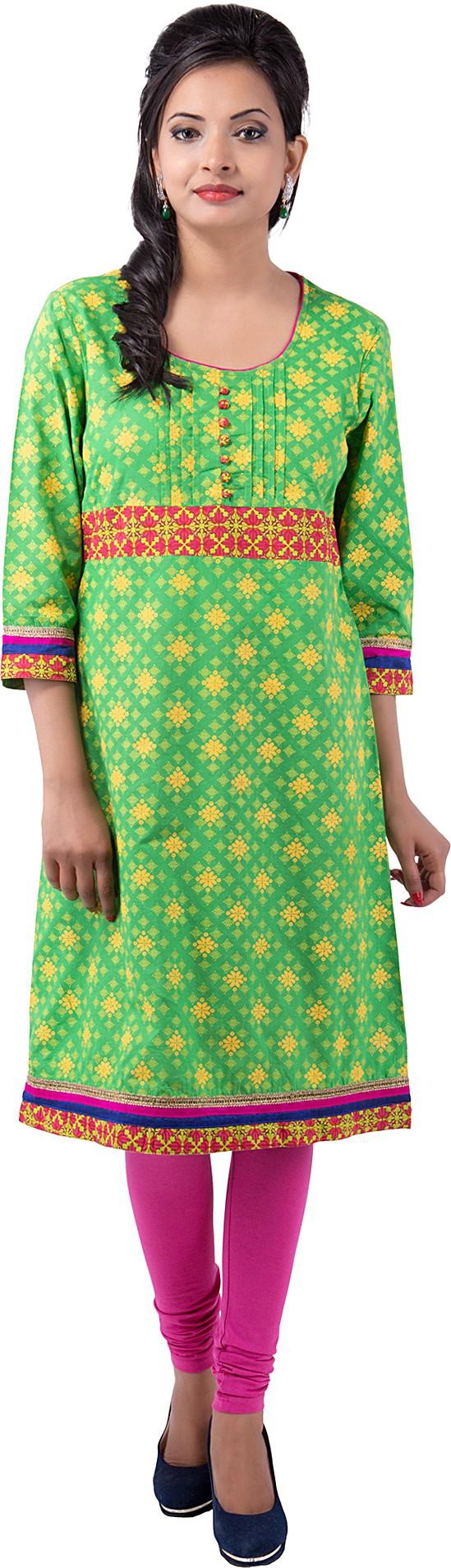 Ishwar Womens Wear Floral Print Womens Straight Kurta(Green)