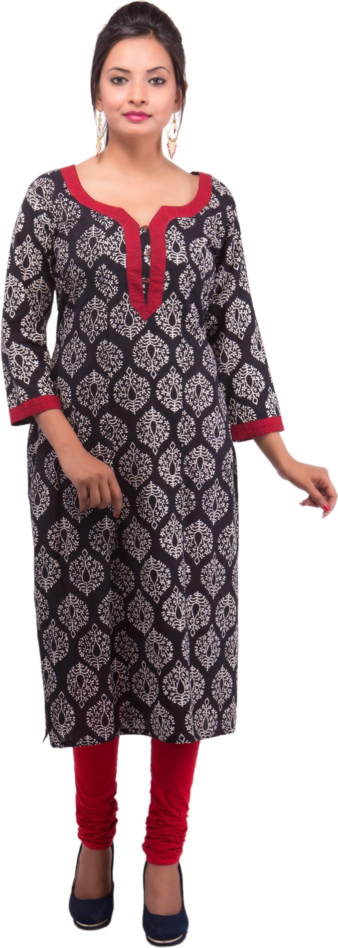 Damyantii Printed Womens Straight Kurta(Black)