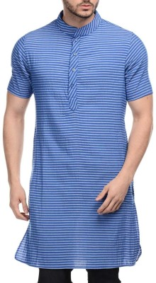 Lavennder Striped Men,s Straight Kurta