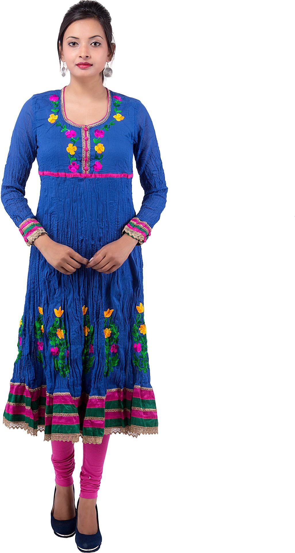 Ishwar Womens Wear Floral Print Womens Anarkali Kurta(Blue)