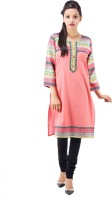 Goodwill Impex Printed Women's Straight Kurta(Pink)