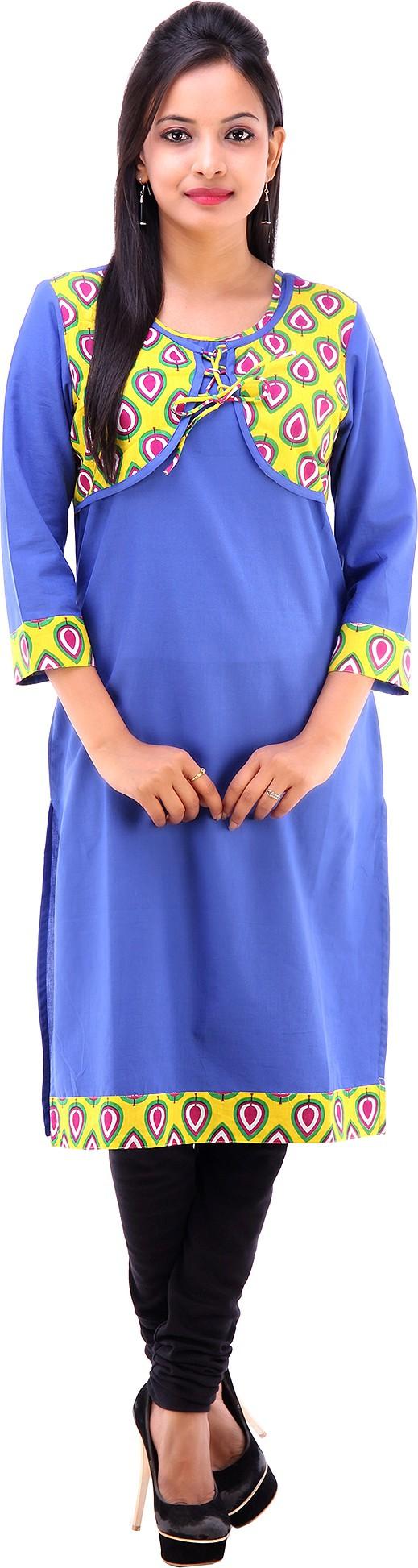 Shubh Printed Womens Straight Kurta(Blue)