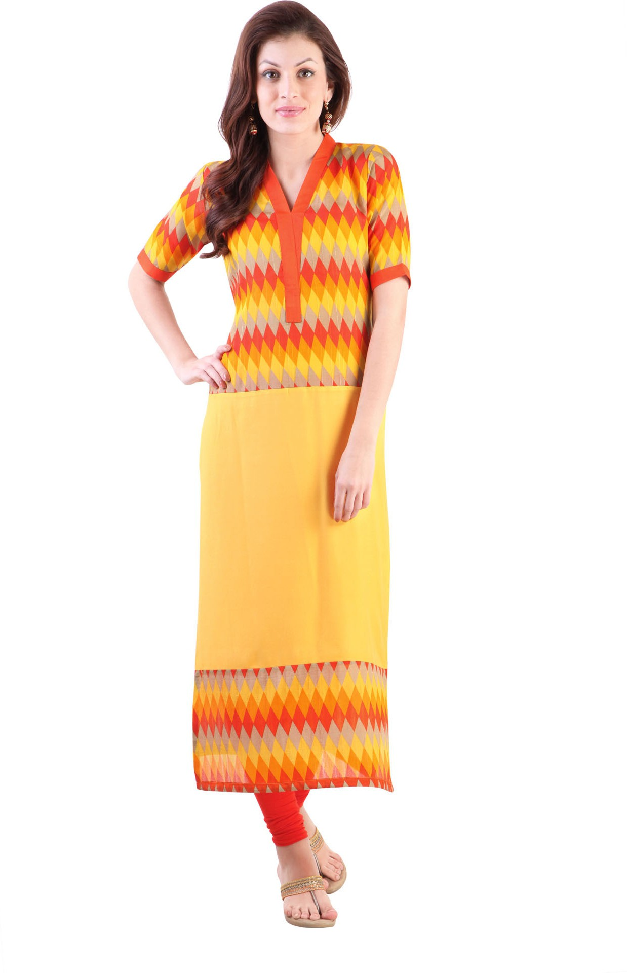 Libas Geometric Print Womens Straight Kurta(Yellow)