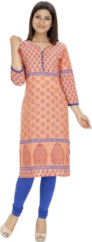 Tanvi Printed Women's Straight Kurta(Orange)