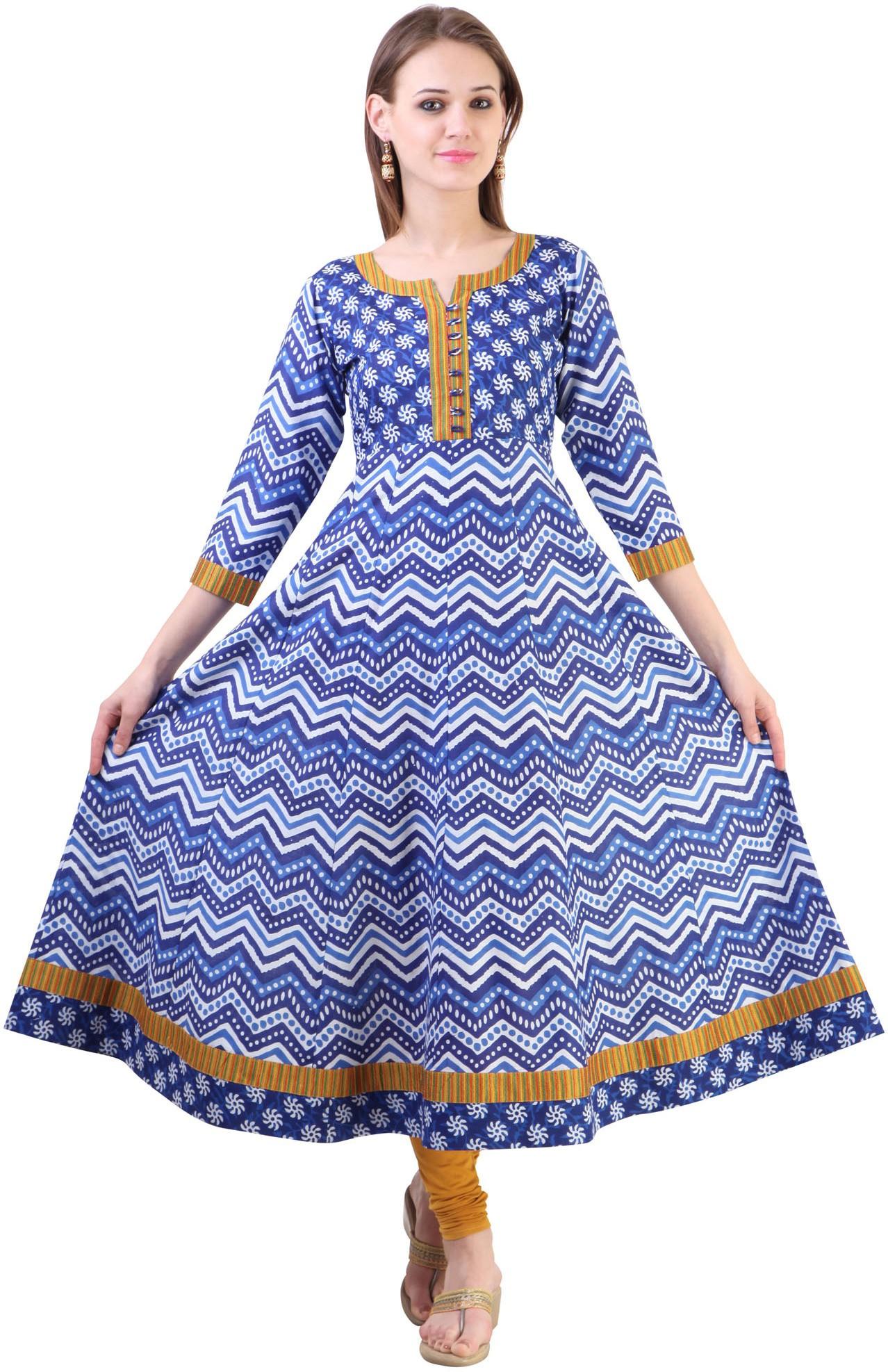 Libas Printed Womens Anarkali Kurta(Blue)