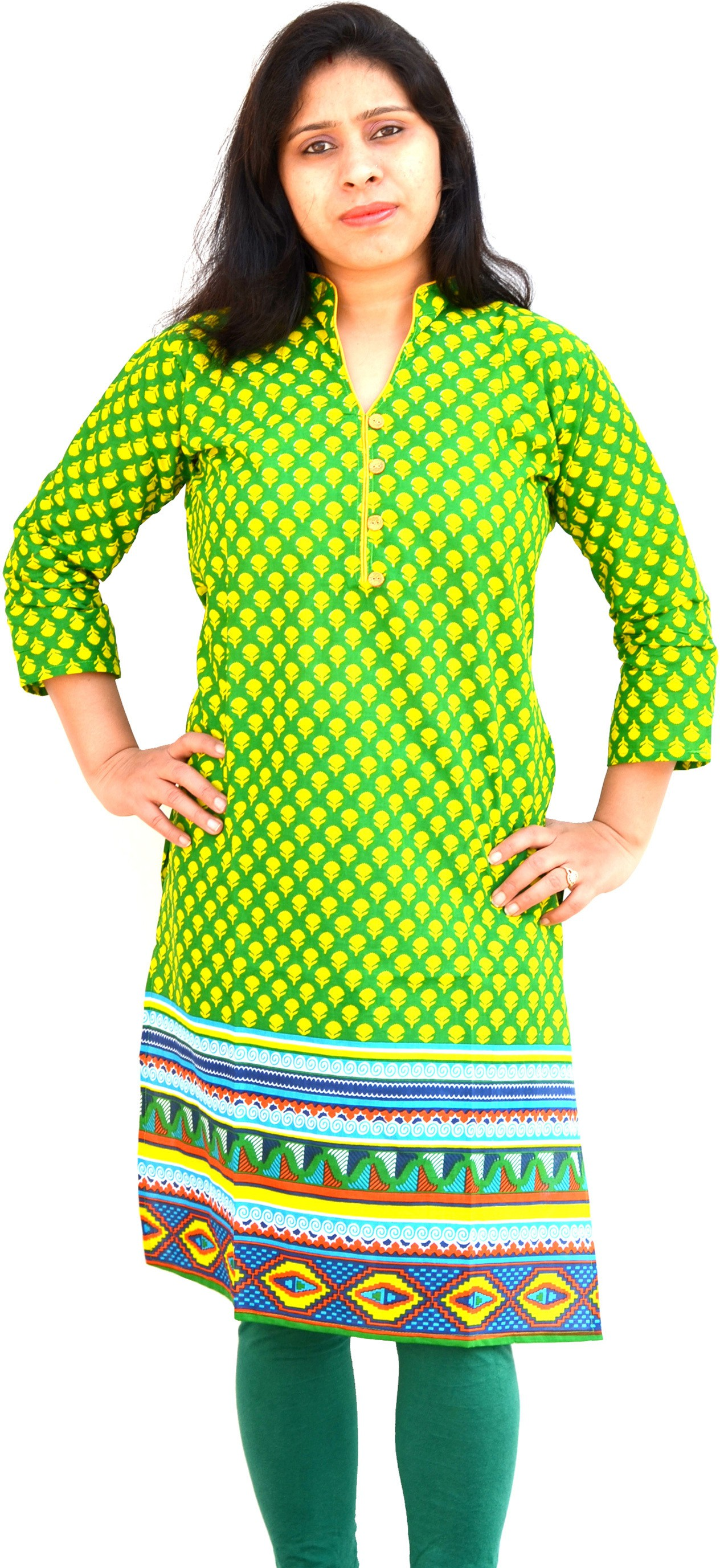 Aarti Collections Printed Womens Straight Kurta(Green, Yellow)