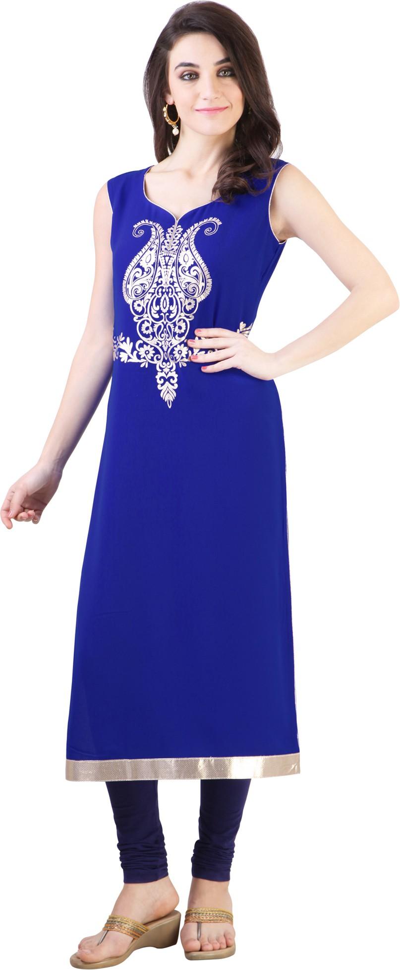 Libas Self Design, Solid Womens Straight Kurta(Blue)
