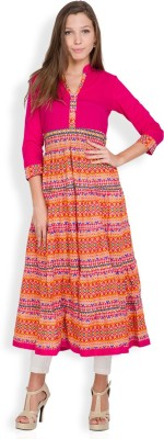Vishudh Casual Printed Women's Kurti(Pink) at flipkart