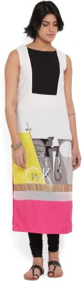 W Printed Women's Straight Kurta(White, Pink) at flipkart