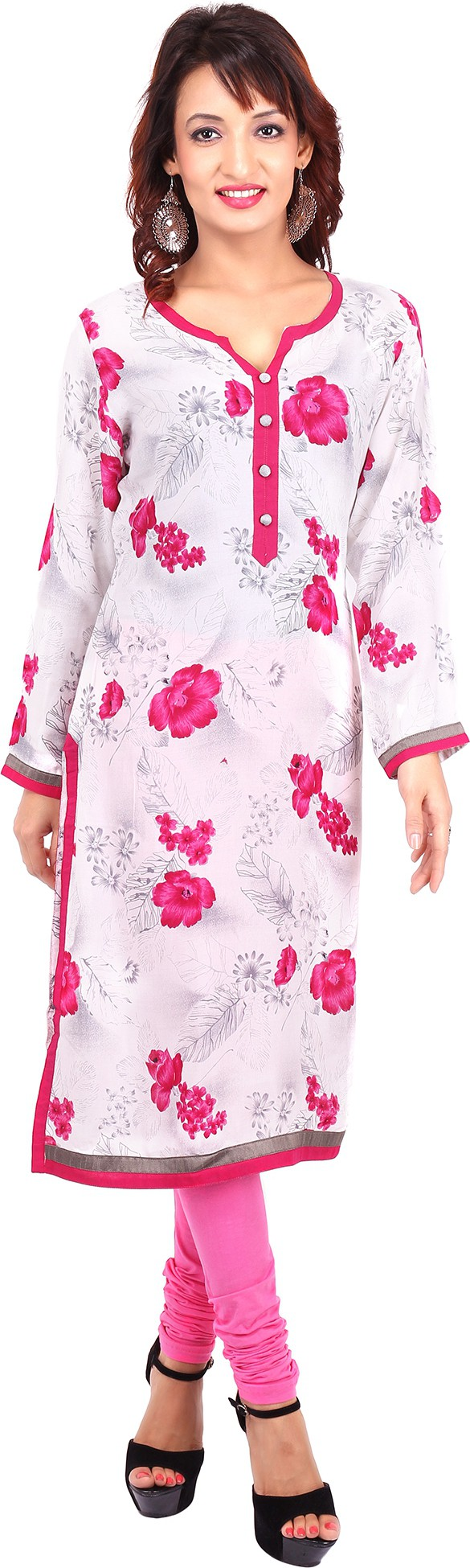 Urban Flairs Floral Print Womens Straight Kurta(White)