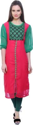 Kurtis By Menika Embroidered Women's Straight Kurta(Pink, Green)