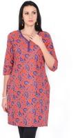 Aurelia Printed Womens A-line Kurta(Orange Purple)