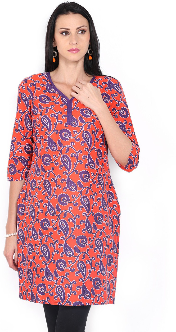 Aurelia Printed Womens A-line Kurta(Orange, Purple)