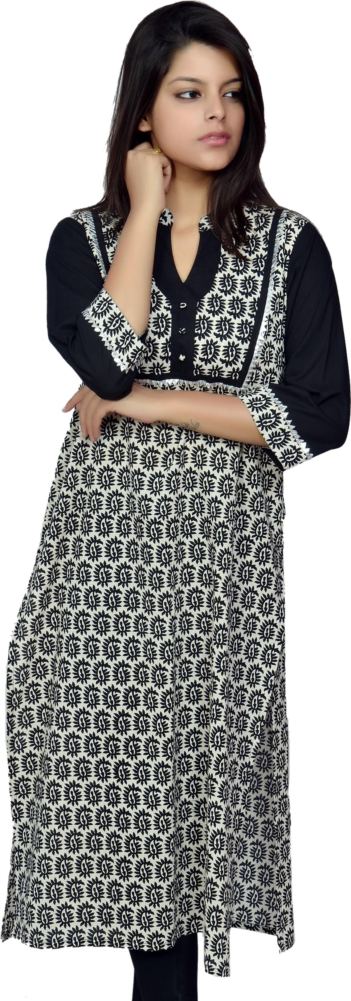 Chitrambara Printed Womens Straight Kurta(Black)