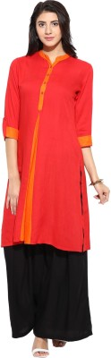 Evam Solid Women's Straight Kurta(Red) at flipkart