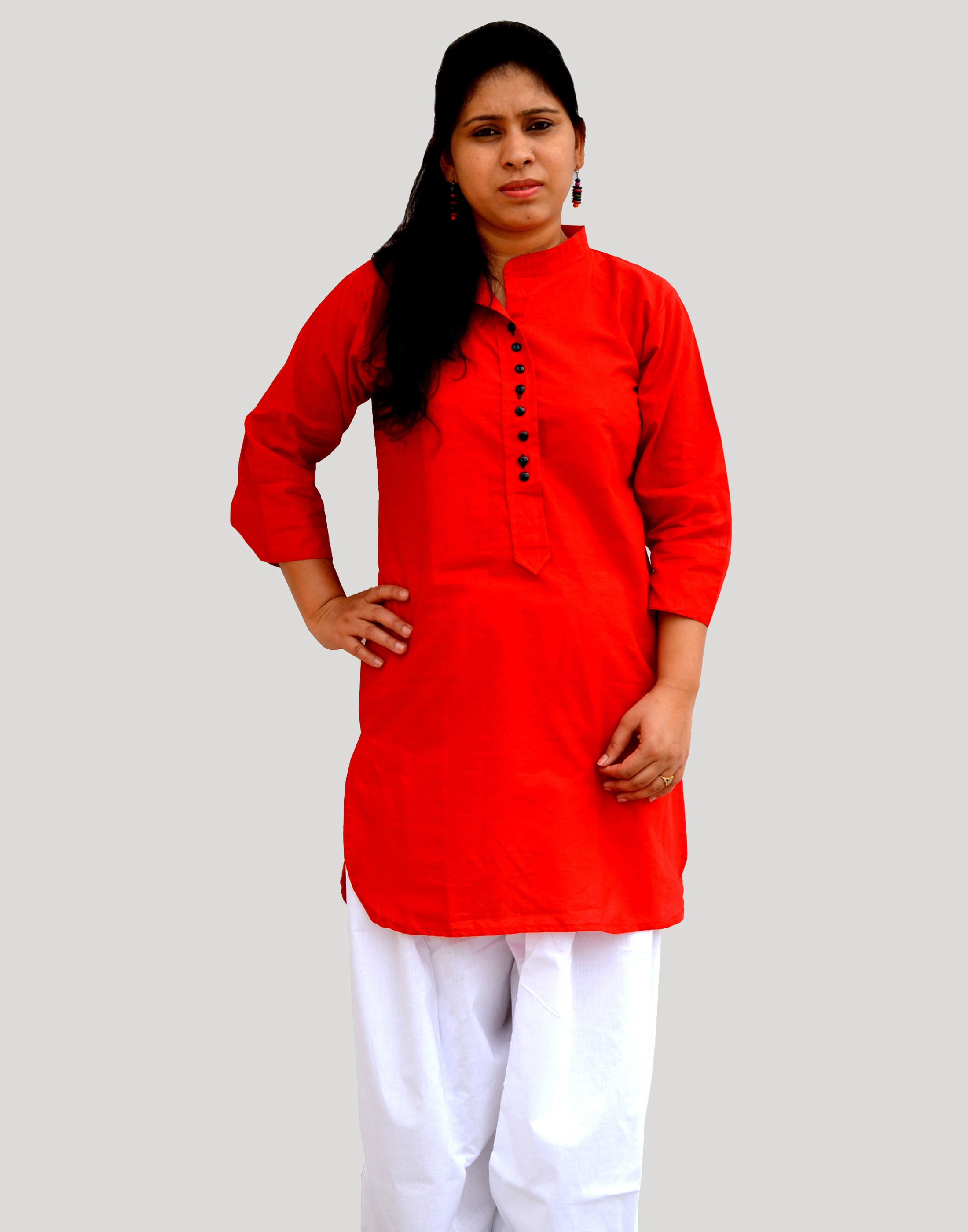 Aarti Collections Solid Womens Pathani Kurta(Red)